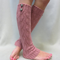 NEW Open crochet knit leg warmers ROSE  / womens leaf knit pattern  great with cowboy boots by Catherine Cole Studio legwarmers
