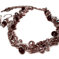 Silver Black Gunmetal Wire Crochet Necklace