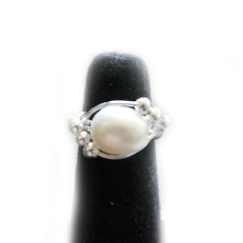 Baroque Pearl Ring Wire Wrapped Jewelry any size silver gold filled gift for wedding birthday