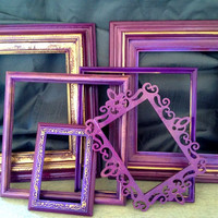 Set of Six//UpCycled//Vintage Gallery Frame Set//Purple//Gold