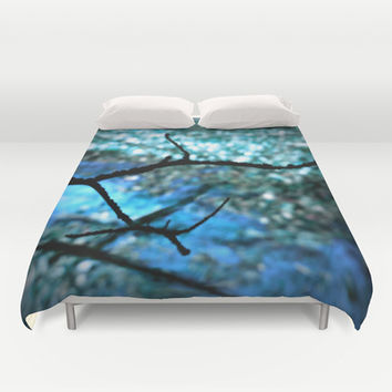 Peeking Through Blue Nature Duvet Cover by 2sweet4words Designs