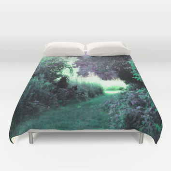 The Path Unknown Teal & Purple Duvet Cover by 2sweet4words Designs