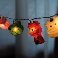 20 x paper cartoon lantern string light strand kid room kid bedroom decaration cow rabbit turtle zoo