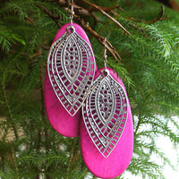Large Pink Wood Sterling Silver Filigree Earrings