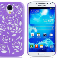 Cut-out Rose Design Plastic Case for Samsung Galaxy S4/ I9500 (Purple)