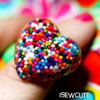 Sugar Love for Your Sweetie ...a wearable resin rainbow sprinkles heart shaped candy ring made with love by isewcute