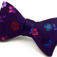 Woven Silk Floral Bow Tie - Flowers &amp; Butterflies - &#x27;Deep Purple&#x27;