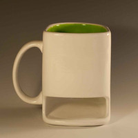White and lime green Dunk mug by apiecebydenise on Etsy