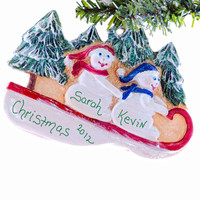 Personalized ornament snowmen sledding couple - Christmas ornament - friends ornament - family of 2 ornament