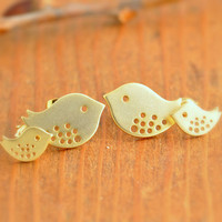 Bird Stud Earrings - gold bird earrings, mom earrings, mother earrings, love bird earring