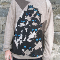 Argyle Crazy Cat Jumper. XL