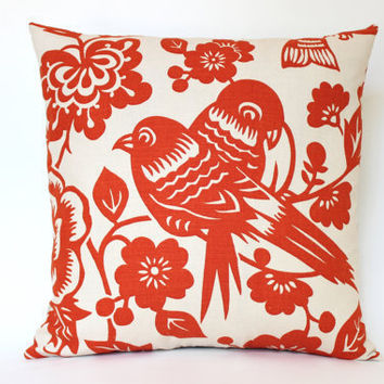 Handmade Pillow Cover with Tangerine Orange Birds on Both Sides
