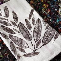 Feather ScreenPrinted Dishtowelsset of 2 by MichelleBrusegaard