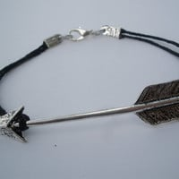 Hunger Games Inspired Silver Arrow Charm Layering Bracelet