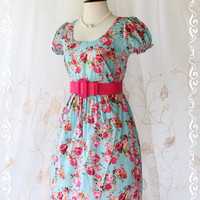 Dolly Dress - Adorable Lady Dress Dolly Baby Doll Sleeve Elegant Floral Print Dusty Powder Blue Fabric S-M