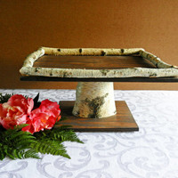 "Wedding Cake Wood Square 16"" Cake Stand with Birch Frame, Rustic Cake Stand, Wedding"
