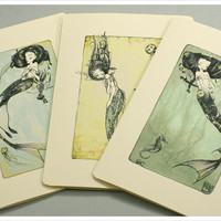 3 Mermaid Cards  Fairy Tale Fantasy Note Cards by thefiligree