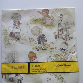 Vintage Holly Hobbie Gift Wrap Brand New 1980s