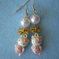 Pink Mermaid Kitty Earrings by zebracakes on Etsy
