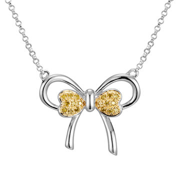 1/10 CT. T.W. Enhanced Yellow Diamond Bow Necklace in Sterling Silver and 18K Gold Plate