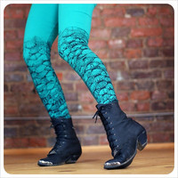 Mermaid Leggings Steampunk   Electric Green BLACK  by Carouselink