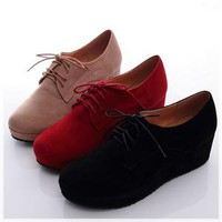 BN Womens Shoes Dress Lace Ups Low Flat Platform Oxfords Booties Beige Red Black