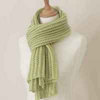 Knitted mohair scarf in pistachio green