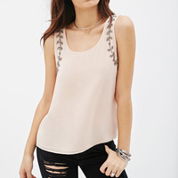 Beaded-Trim Chiffon Tank