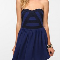 Silence & Noise Pieced Mesh Strapless Dress