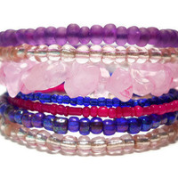 Stacking Bracelet Bright Blue Pink Purple Memory Wire Beaded Wrap