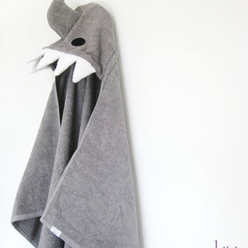 Shark Hooded Towel, Grey Bath Towel