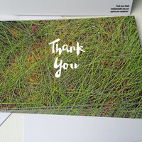 Thank You Printed Post Card, flat card envelope, Green white typography, Thank You Art 5x7, nature lover, woodland card, stock lane studio