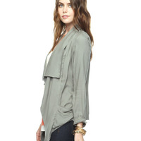 Pleat Pocket Open Cardigan