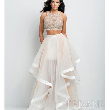 White & Nude Two Piece Embellished Gown