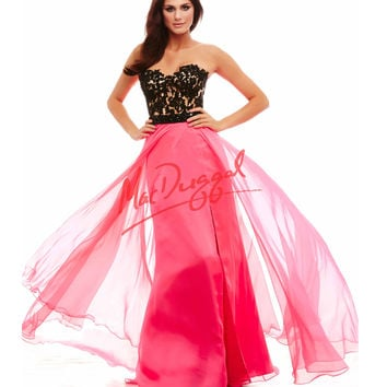 Strapless Lace Corset Black & Pink Gown