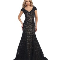 Black & Nude Sheer Lace Trumpet Cap Sleeve Gown 2015 Prom Dresses