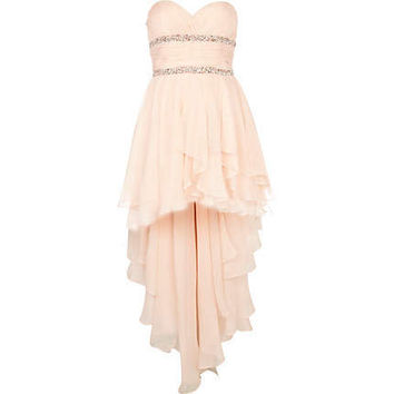 Light pink Forever Unique dip hem prom dress