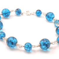 Chain Link Bracelet with Wavy Blue Glass Beads and Silver Wire