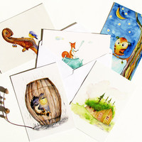 Halloween Woodland Hedgehog Owl Fox Cabin Violin Postcard Set