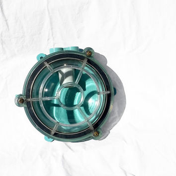 Vintage Industrial Ship Light, Round Dome with Lightweight Lexan Cage; Industrial Light, Wall Mount