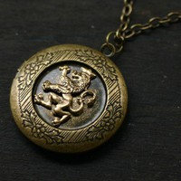 Scottish Rampant Lion Locket in Antique Brass by robinhoodcouture