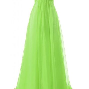 JAEDEN Girl's Sweetheart Charming Formal Evening Dresses Long Prom Gown Lime Green US10