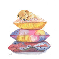 Puppy Watercolour Original Painting - Puppy Art, Pillows, Dog Illustration, 8x10