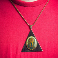 Vintage 1970's Necklace - Egyptian Necklace - Pharaoh Necklace - King Tut - Costume Jewelry - Triangle Pendant