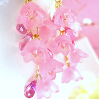 Pink quartz cherry blossom cluster earrings