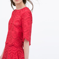 Cropped embroidered laser-cut top