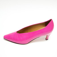 Vintage 1980's Designer Shoes - Hot Pink Via Spiga Pumps - Designer Vintage - Magenta