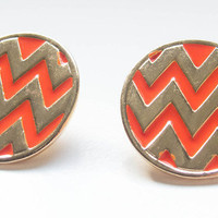 Gold &amp; Orange Chevron Studs | Paizlee