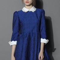 Inspired Blue Dress with Contrast Beads Collar