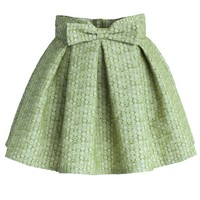 Sweet Your Heart Bowknot Pleated Mini Skirt in Pea Green